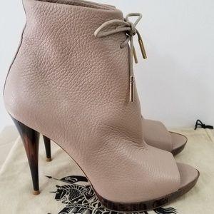 Burberry deerskin peeptoe ankle beige heel boots